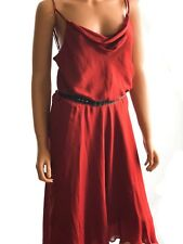Haute Hippie Rosewood Sleeveless Midi Silk Dress With  Embellished Belt SIZE M