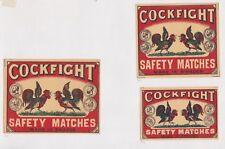 Ancienne étiquette de paquet  Allumettes Suède BN42028 Combat de coq