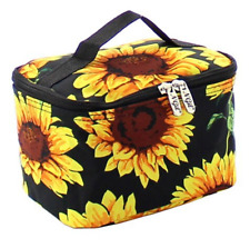 NGIL Canvas Sunflower Cosmetic Bag Make Up Case Toiletry Travel Bag Black Yellow
