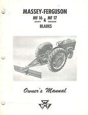 "MASSEY FERGUSON MF 16  MF17  BLADES  OWNER'S  MANUAL ""NEW"""