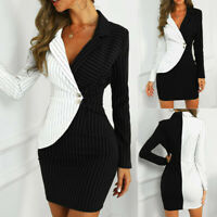 Women Turn Down Neck Long Sleeve Dress Striped Slim Up Bodycon Blazer Mini Dress