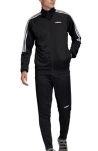 Adidas 3 Stripe Men's Tracksuit Black White Sports