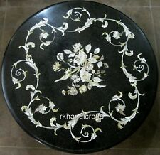 24 Inches Black Marble Sofa Table Top Patio Side Table with Pietra Dura Art