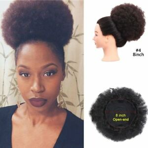 Afro Kinky Curly Puff Bun Synthetic Clip in Drawstring Ponytail Hair Extensions