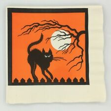 (11) Loose Vintage Paper Napkins Halloween Black Cat Full Carlton Cards 1980s