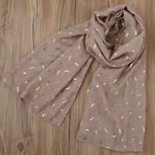 Gold Foil Dragonfly Print Women Soft Shawl Wrap Pashmina Stole Scarf Scarves NEW