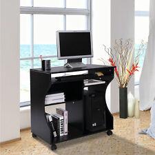 HOMCOM Computertisch Schreibtisch Arbeitstisch Büro Tisch mit Rollen Schwarz MDF