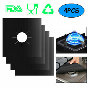 4Pcs Reusable Teflon Gas Range Cooker Protector Liner Cover for Cleaning Kitchen