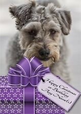 Personalised Schnoodle Christmas or Birthday Card blank insert or message inside