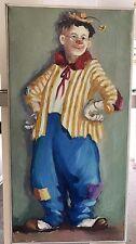 Vintage Mae Sibley Clown Oil Painting Signed Framed Memphis TN Artist