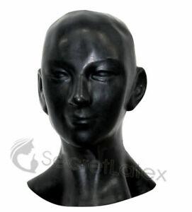 BLACK LATEX HOOD BONDAGE BDSM LONG NECK GIMP FETISH KINK ZIP CUSTOM HOLES SMALL