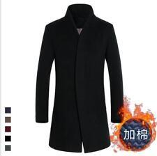 Hombre Gabardina lana de invierno chaqueta larga botonadura Simple Abrigo Parka