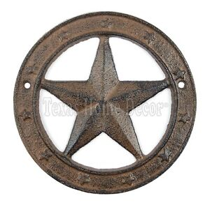 """Texas Star with Ring Cast Iron Western Barn Decor 6.25"""" Rustic Antique Style"""