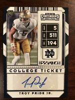 2020 Panini Contenders Draft Picks College Ticket Troy Pride Jr AUTO RC