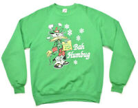 """Vintage 1990's Green Jerzees """"Bah Humbug"""" XMAS Sweater Men's Size L Made In USA"""