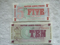1972 GREAT BRITAIN BRITISH ARMED FORCES 6th series 5-10 NEW PENCE VOUCHERES UNC.
