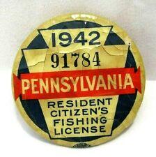 1942 PA Pennsylvania Resident Fishing License Pinback Button