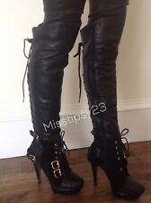 River Island Soft Leather Rear Lace High Heel Over Knee Boots UK 7 EU 40 US 9.5