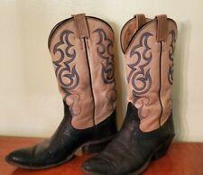 Vintage Nocona LIZARD/LEATHER cowboy boots, almond toe, women's size 8