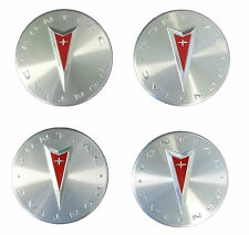 New Lot of 4 Genuine OEM Pontiac Logo Wheel Center Caps Hub Brushed Polished