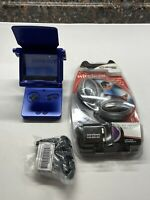 Nintendo Gameboy Advance SP Cobalt Blue, Wireless Headphones, Magnifier, Charger