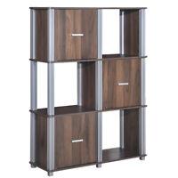 3-Tier Storage Cabinet 6 Cube Display Rack Tower Shelf Organizer Walnut