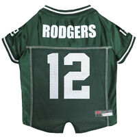 Aaron Rodgers Green Bay Packers #12 Licensed NFLPA Dog Jersey Green, Sizes XS-XL