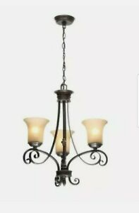 Hampton Bay Essex 3-Light Aged Black Chandelier with Tea Stained Glass Shades