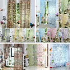 Flower Floral Sheer Voile Room Door Window Curtain Drape Panel Scarf Divider Hot