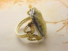 Grecian Goddess Rose Cameo Ring 14k Gold Filled Minerva