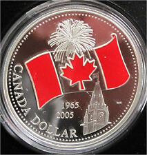 2005 CANADA SILVER DOLLAR WITH ENAMEL -  NATIONAL FLAG , PROOF