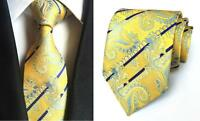 Tie Yellow Blue Paisley Patterned Handmade 100% Silk Wedding Necktie 8cm Width