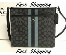 NEW Coach F29960 F39041 Signature Jacquard Varsity Stripe Crossbody File Bag BLK