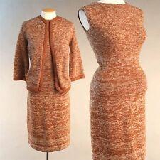 Vintage 60s space dyed brown knit 2 piece cardigan cocktail party midi dress S