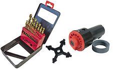 TITANIUM Trapano Set & AFFILATORE chiave Chuck 3.5-10mm HSS Kit professionale