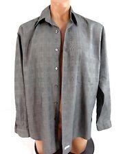 BURMA BIBAS MENS BLACK PLAID POLY RAYON DRESS SHIRT SIZE 15.5 35/36