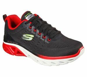 Skechers Glide Black Red Shoes Mens Memory Foam Mesh Sport Comfort sports Shoes