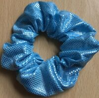 A Blue Shimmer Fabric Scrunchie Ponytail Band / Bobble