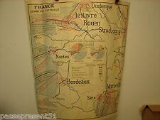 Jolie ancienne carte, France commerce extérieur, Industrie, 85 cm x 79 cm