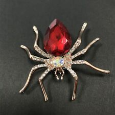 Elegant Alloy Red Rhinestone Spider Shaped Brooch Pin Fashion Jewelry Women Gift
