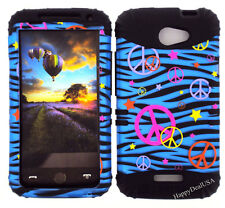 KoolKase Hybrid Silicone Cover Case for HTC One X S720e - Peace Zebra Blue