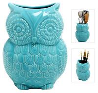 Large Owl Design Ceramic Cooking Utensil, Kitchen Storage Crock, Aqua Blue