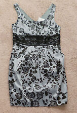 HOT OPTIONS silvery grey and black floral print satin cocktail dress, Suit sz 10
