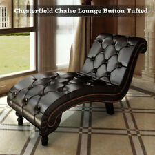 Modern Chesterfield Chaise Lounge Daybed Tufted Button Contemporary Faux Leather