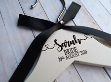 White Engraved Wooden Wedding Coat Hanger.  Bridal Party Gifts