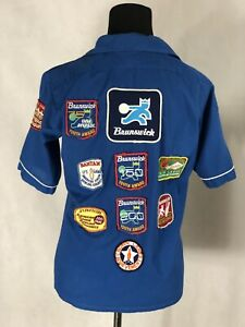 Vintage King Louie Jr. Bowling Short Sleeve Shirt Sz 18 With Multiple Patches