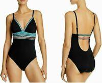 La Blanca Black Running Stitches V-Neck One Piece Mio Size 6 Swimsuit NWT $125