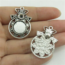 20228 15X Alloy Fit 12mm Base Setting Antique Silver Pendant Craft Mirror Rubber