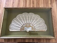 Vintage Victorian Look Hand Fan In Rectangular Shadow Box Frame