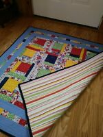 Handmade Over-Sized Lap Crib Quilt - Primary Colors - Striped Back